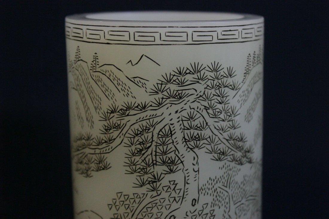 Chinese white Peking glass brush holder - 6