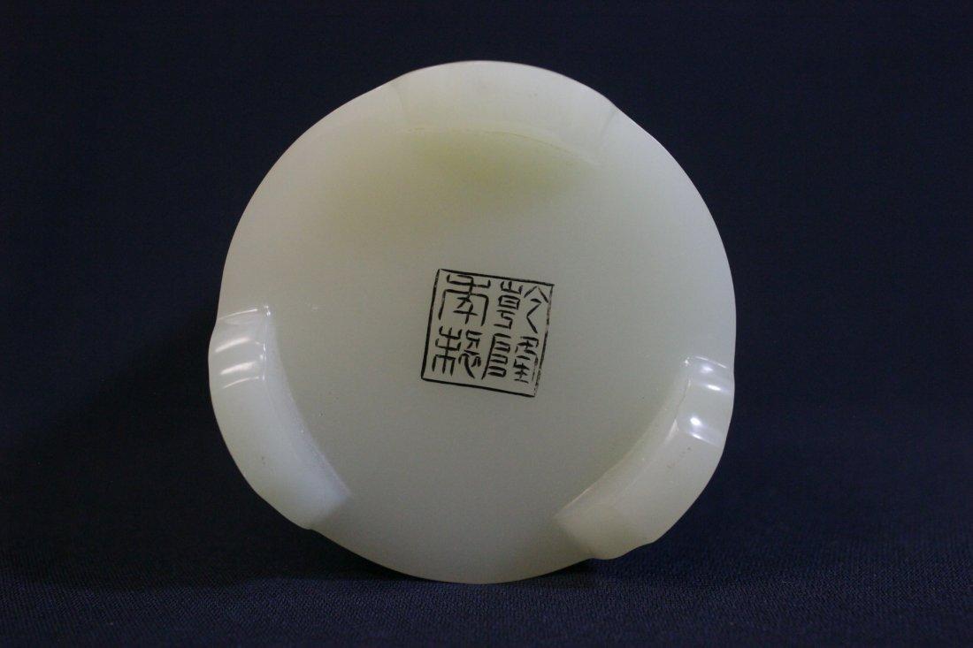 Chinese white Peking glass brush holder - 8