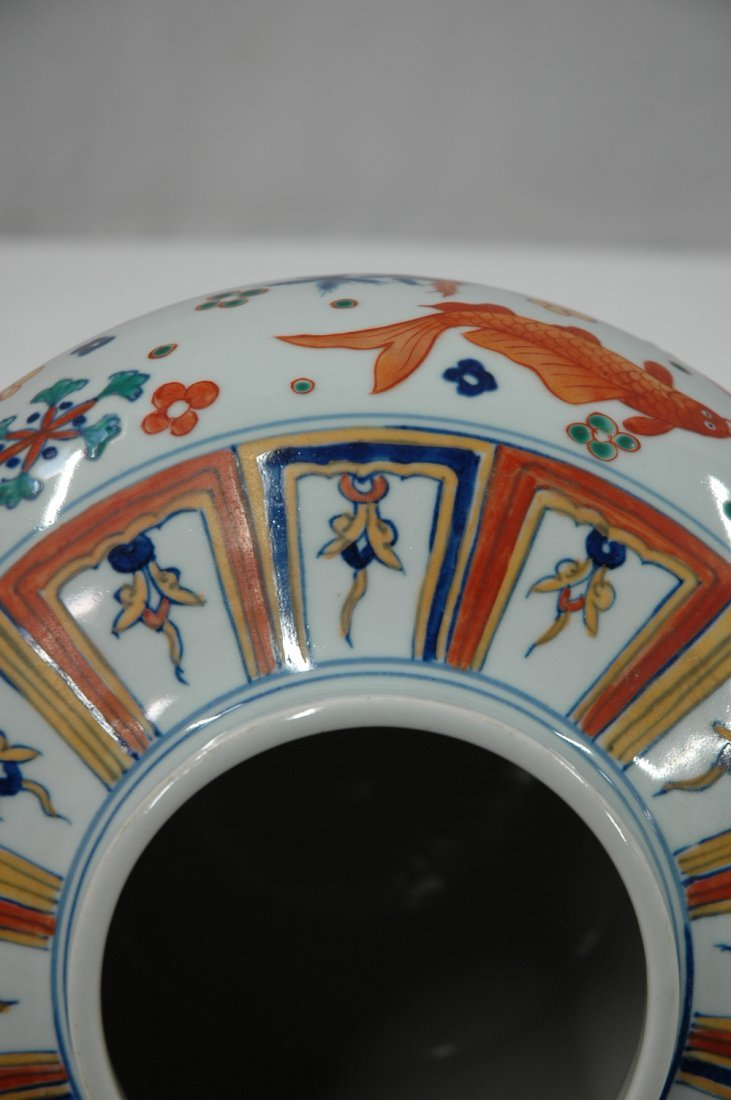Chinese wucai porcelain covered jar - 8