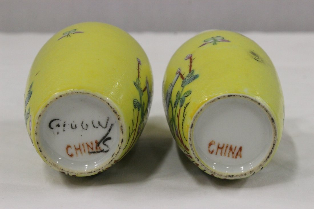 Pair Chinese early 20th c. export porcelain vases - 9
