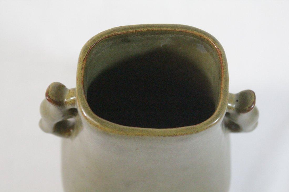 Chinese tea glazed handled vase - 5