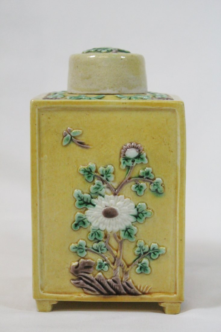 Chinese antique Fahua style porcelain tea caddy