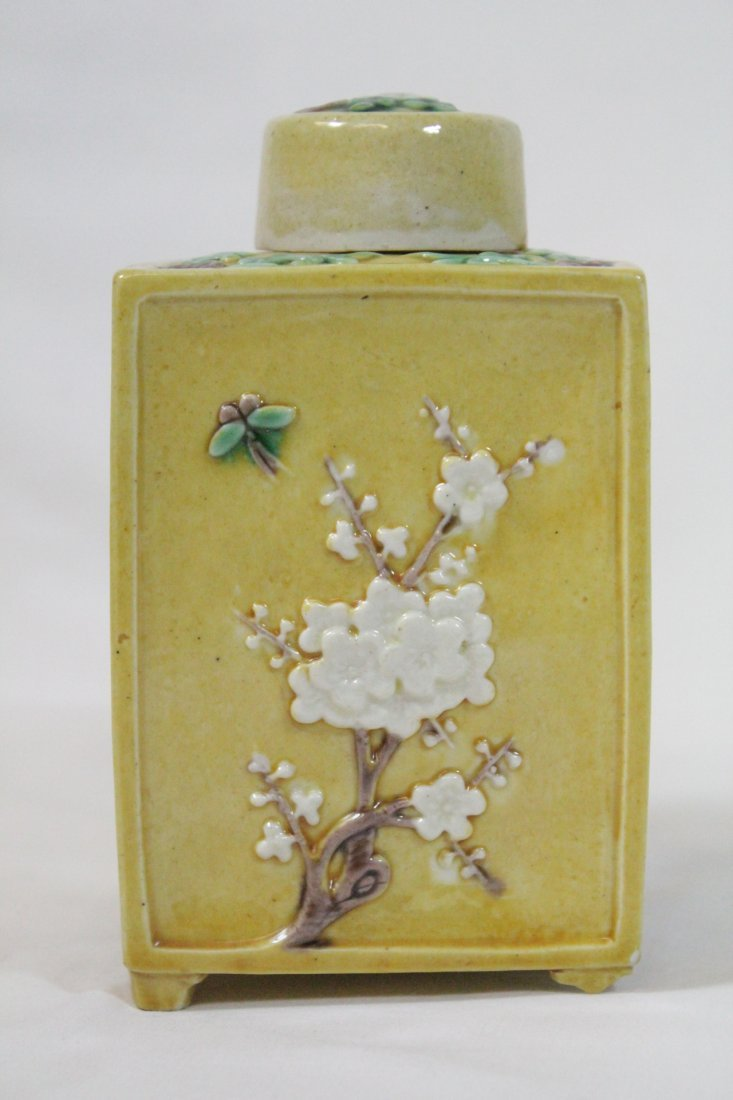 Chinese antique Fahua style porcelain tea caddy - 3