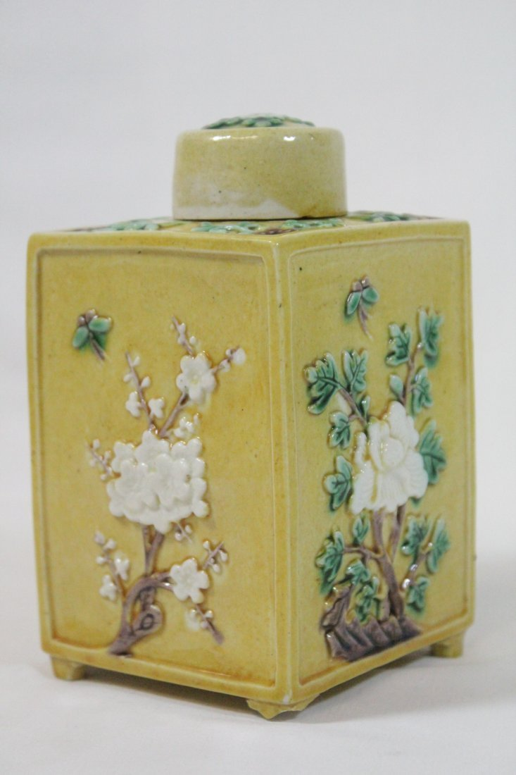 Chinese antique Fahua style porcelain tea caddy - 4