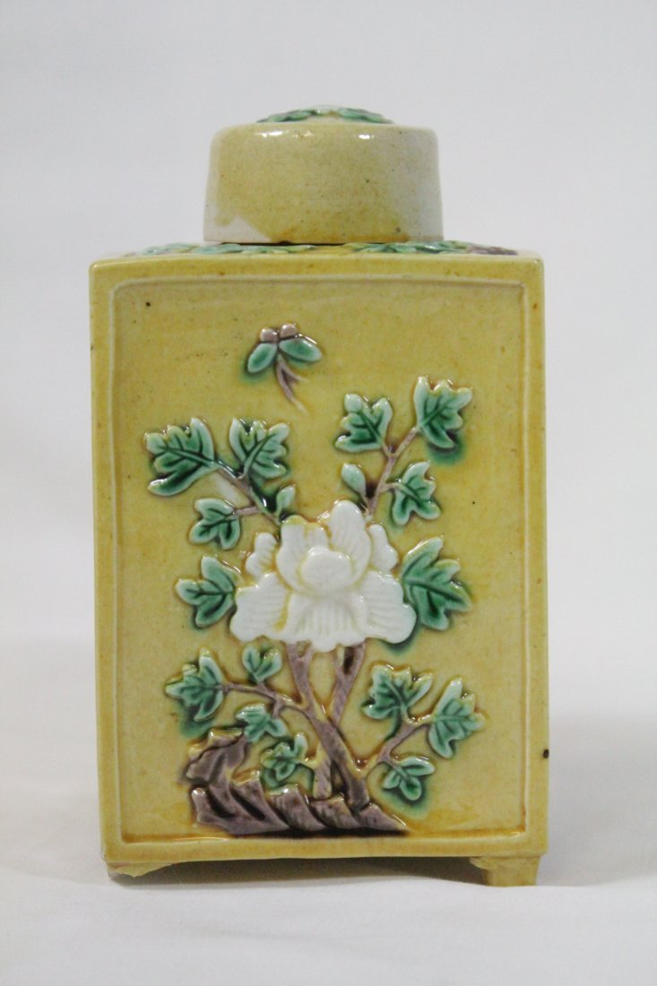 Chinese antique Fahua style porcelain tea caddy - 5