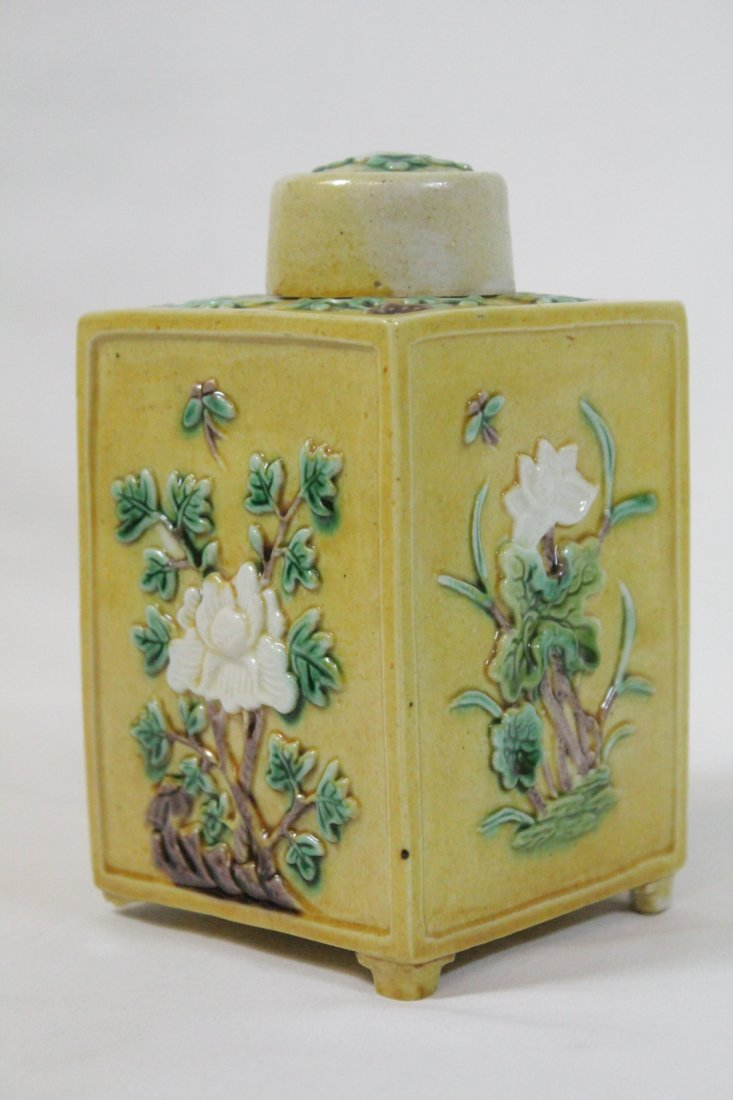 Chinese antique Fahua style porcelain tea caddy - 6