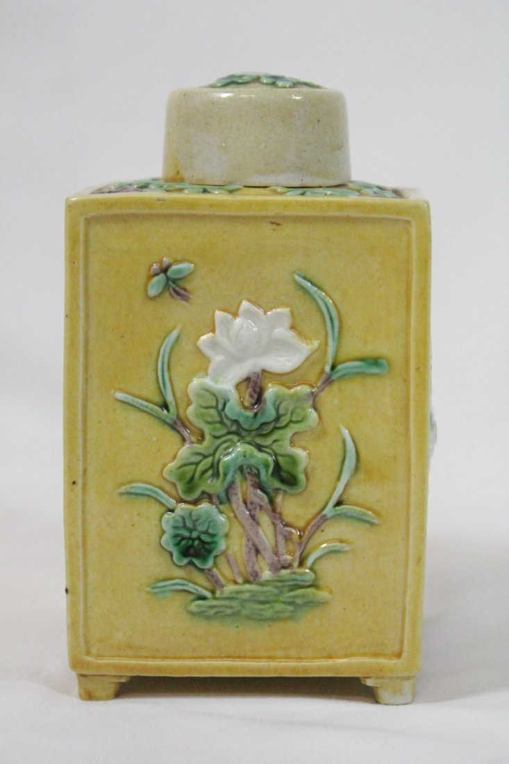 Chinese antique Fahua style porcelain tea caddy - 7