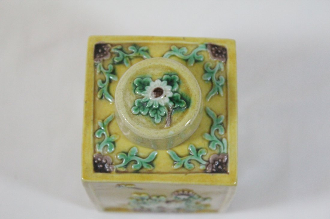 Chinese antique Fahua style porcelain tea caddy - 8