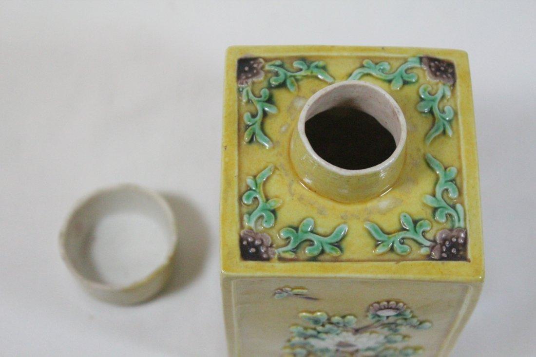 Chinese antique Fahua style porcelain tea caddy - 9