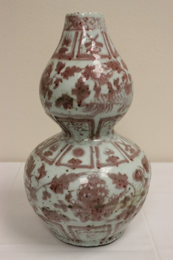 Chinese red and white porcelain vase