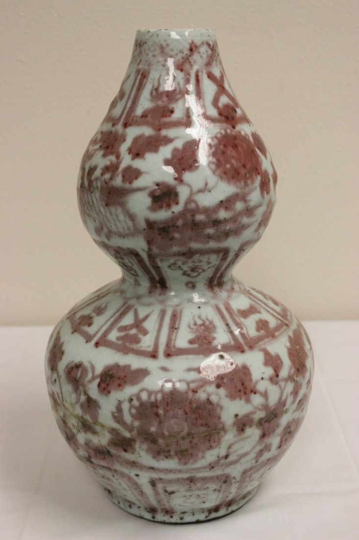 Chinese red and white porcelain vase - 5