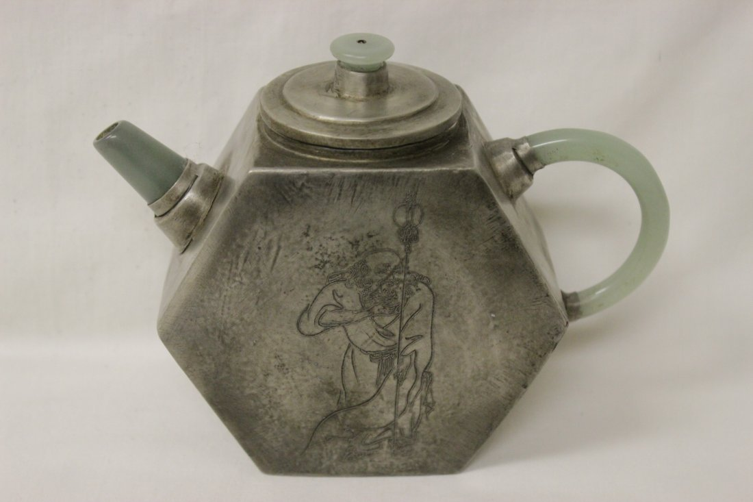 Chinese Yixing teapot with jade handle  & sprout