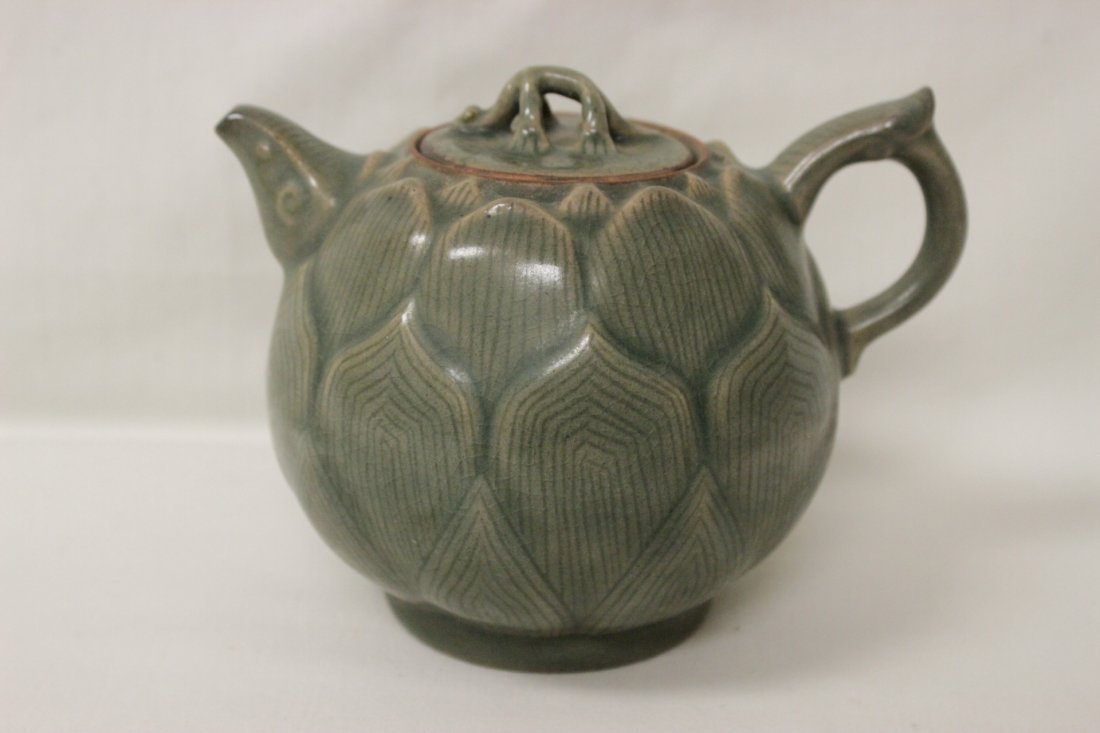 Chinese celadon teapot in the form of lotus flower