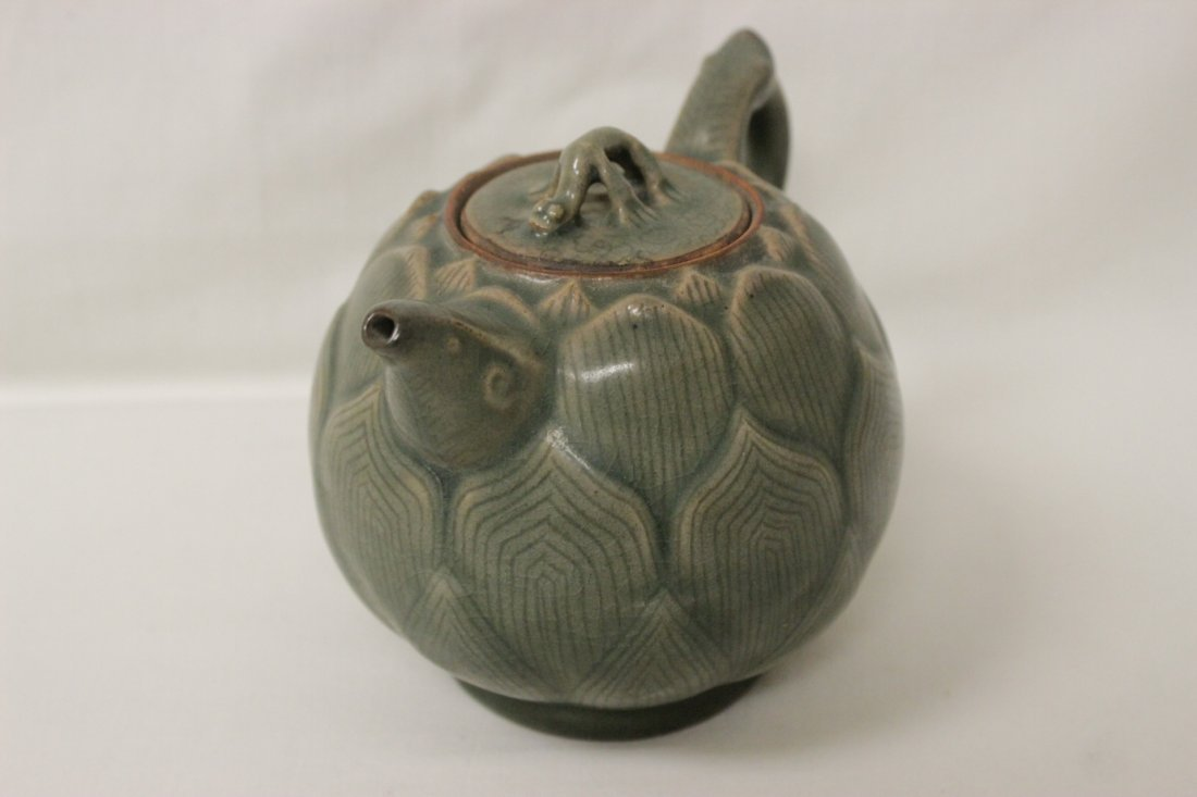 Chinese celadon teapot in the form of lotus flower - 2