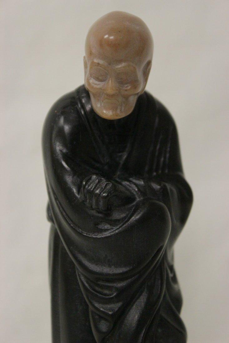 Chinese wood and shoushan stone Lohan - 3