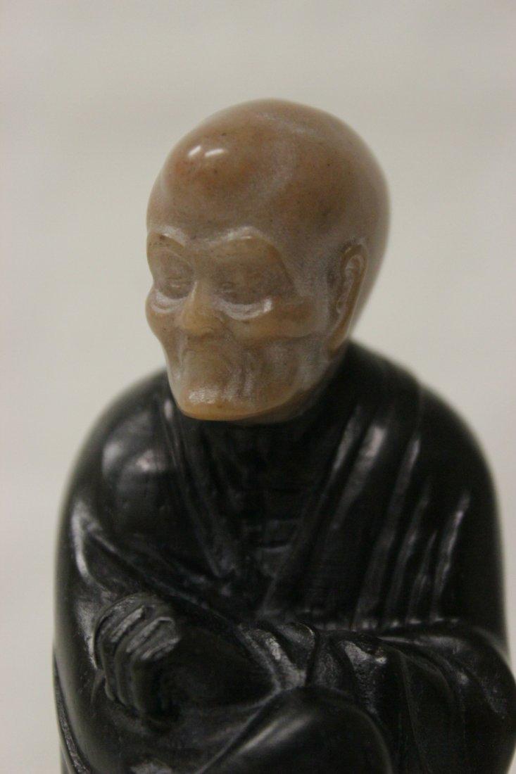 Chinese wood and shoushan stone Lohan - 4