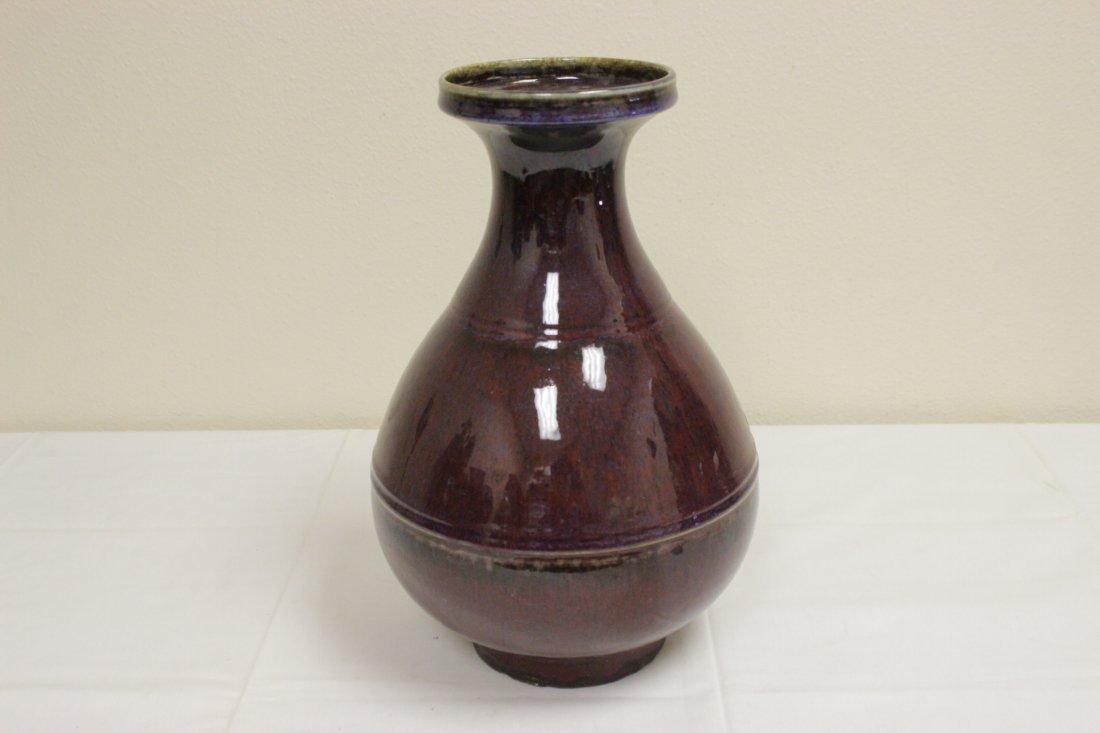 Large Chinese red glazed bottle vase - 2