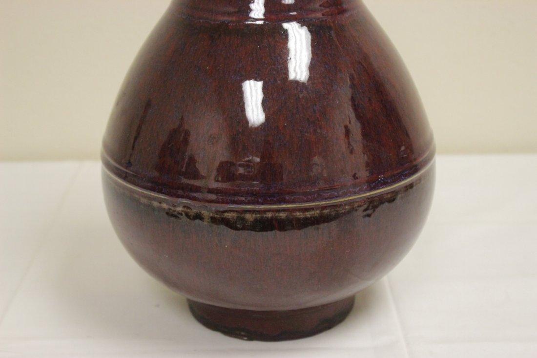 Large Chinese red glazed bottle vase - 3