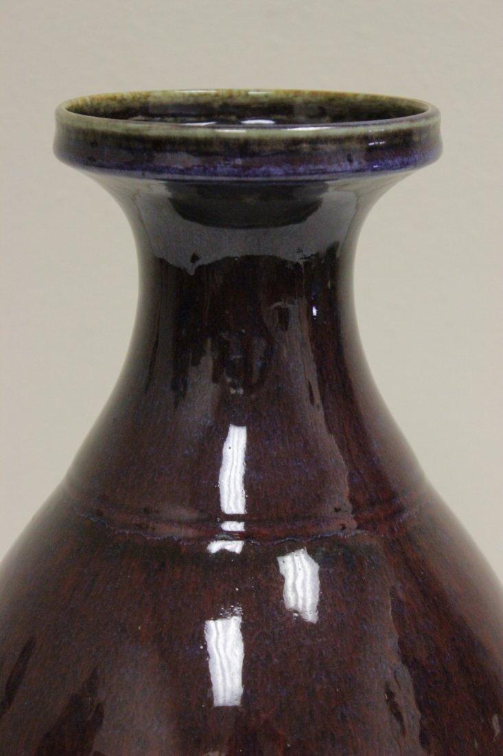 Large Chinese red glazed bottle vase - 4
