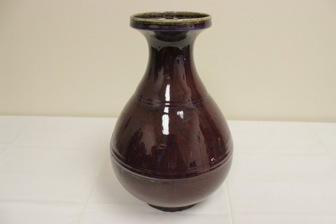Large Chinese red glazed bottle vase - 7