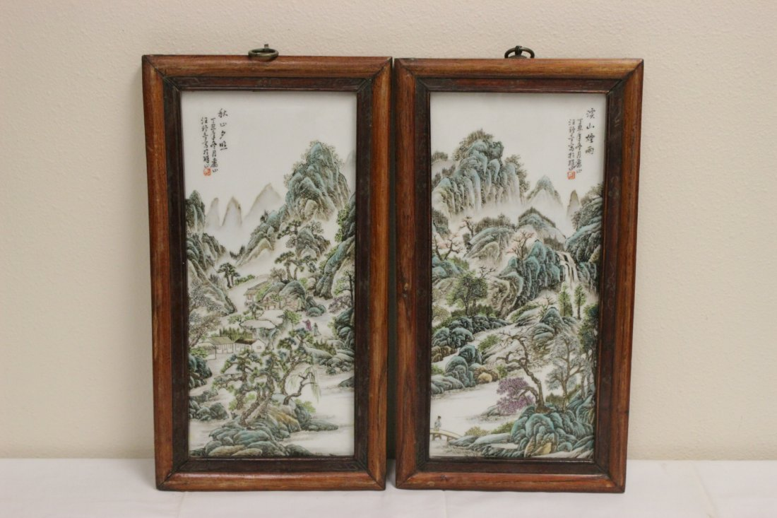 Pair Chinese porcelain plaques