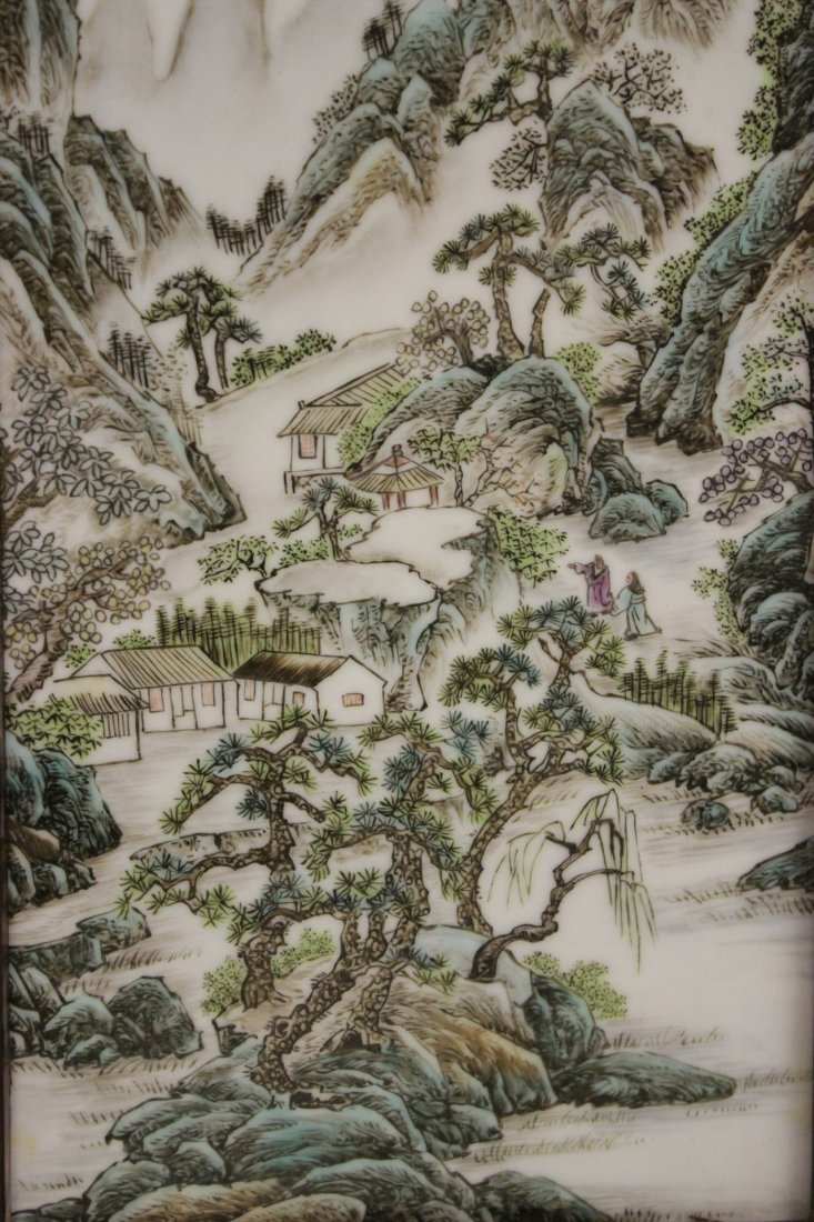 Pair Chinese porcelain plaques - 2