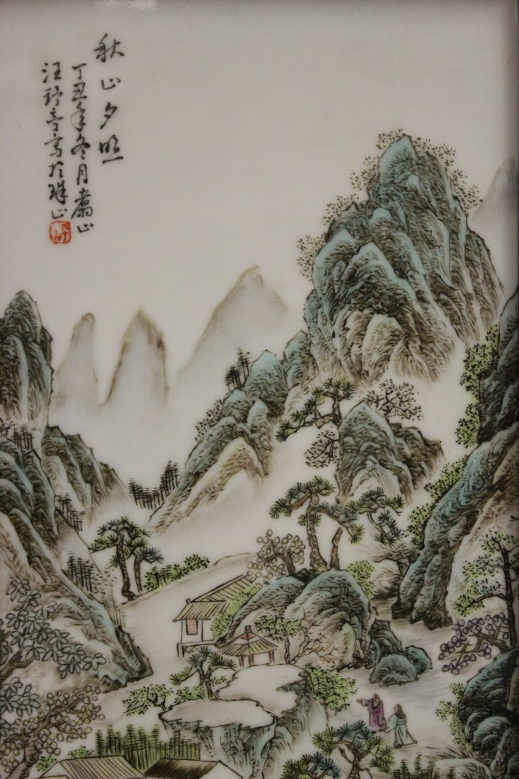 Pair Chinese porcelain plaques - 3