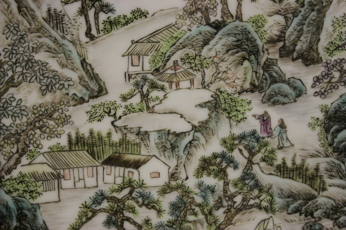 Pair Chinese porcelain plaques - 5