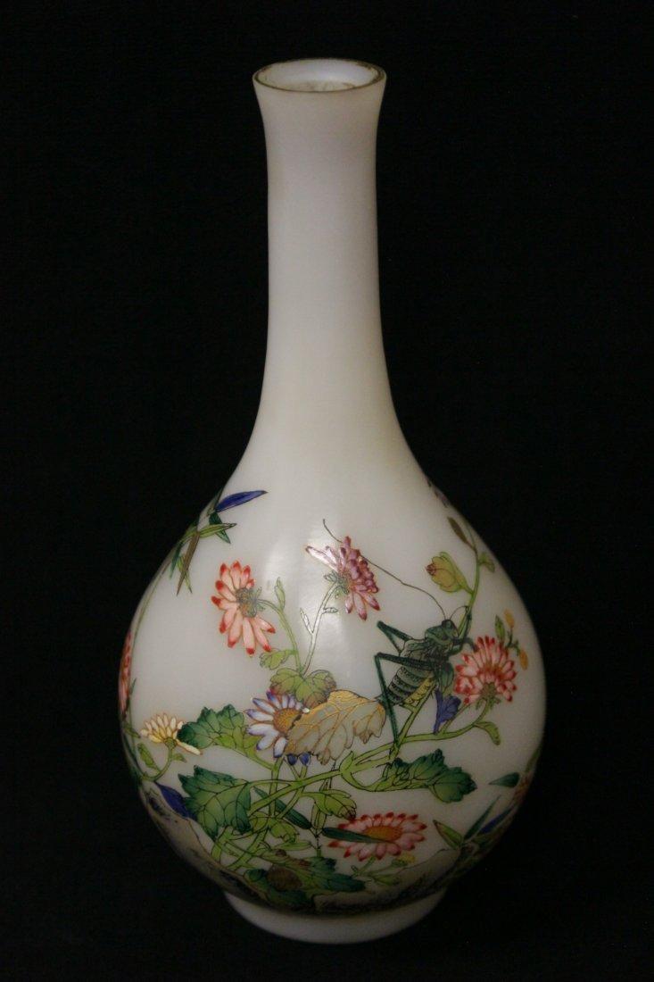 Chinese enamel on Peking glass vase