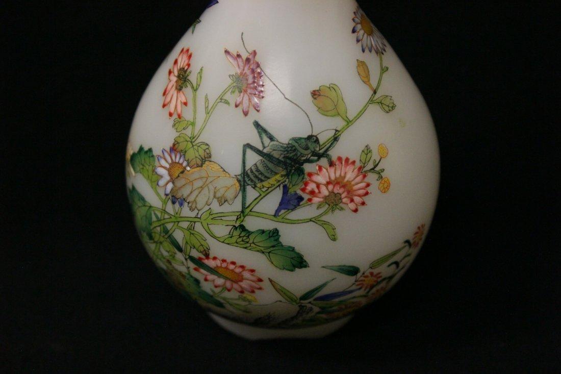 Chinese enamel on Peking glass vase - 6