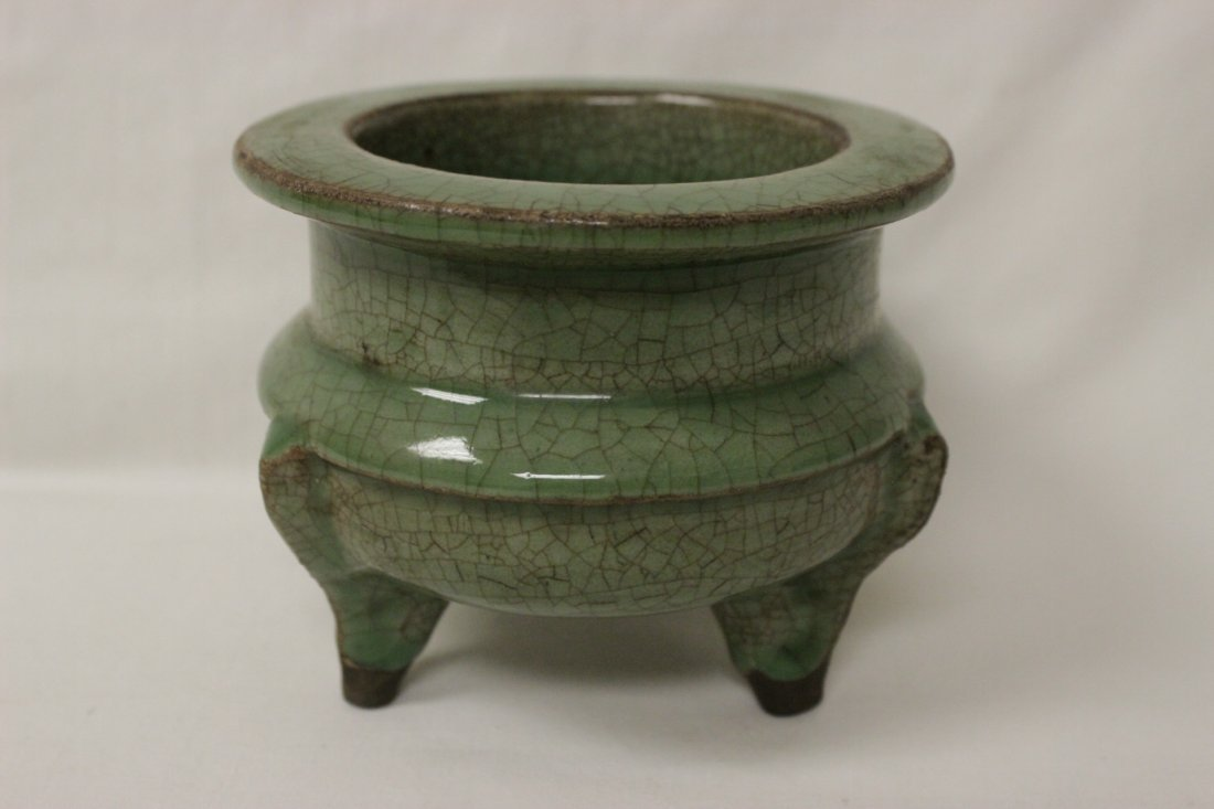 Song style celadon footed censer - 3