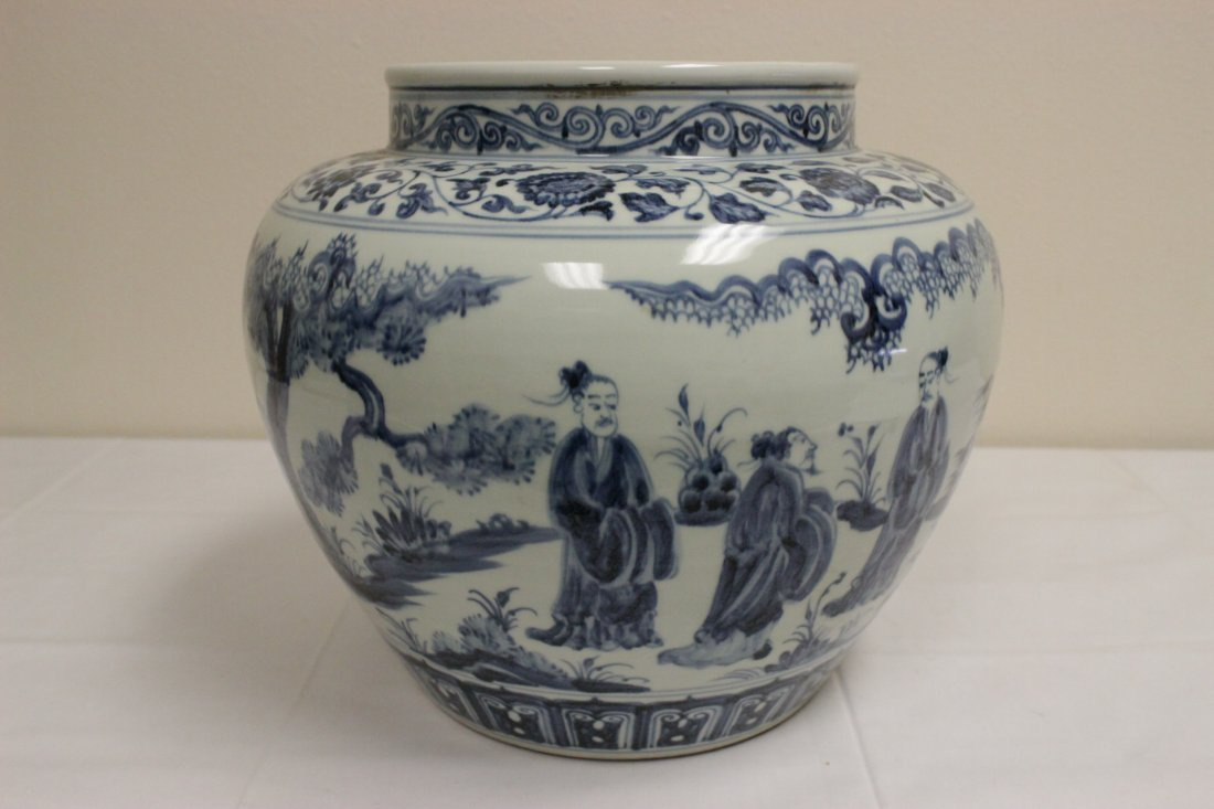 A large Chinese blue and white porcelain jar - 6