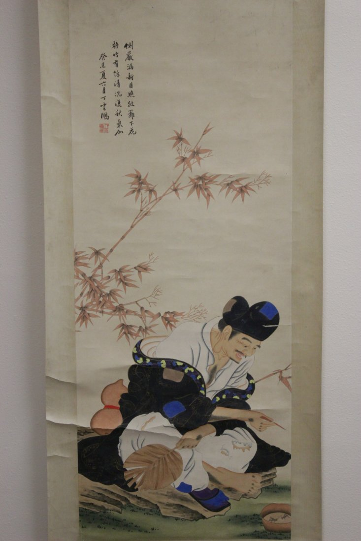 "Chinese watercolor scroll ""monk under bamboo tree"""