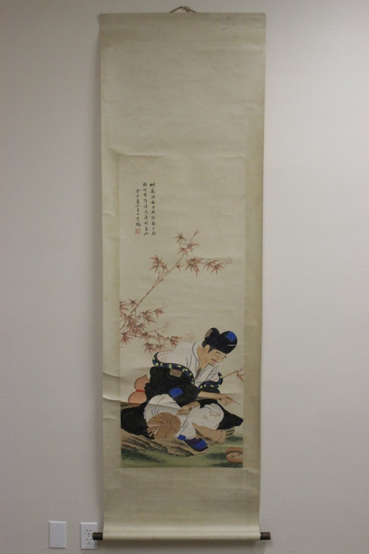 "Chinese watercolor scroll ""monk under bamboo tree"" - 2"