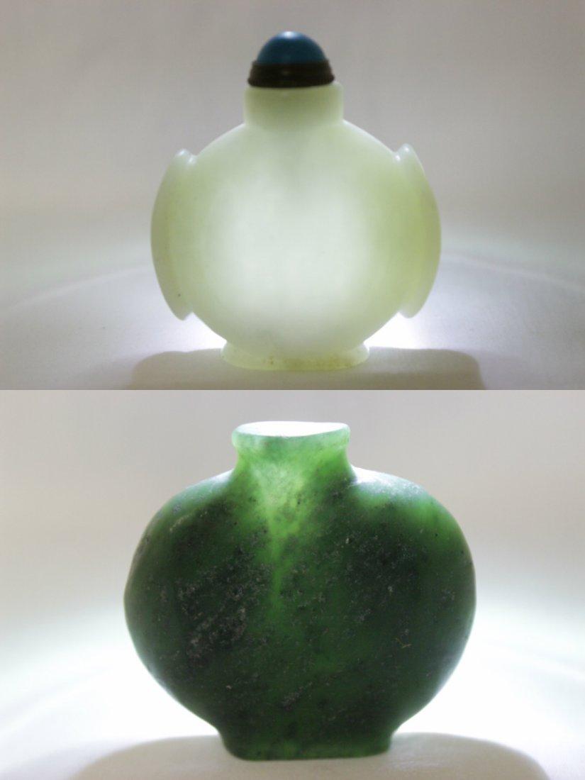2 jade carved snuff bottles - 10