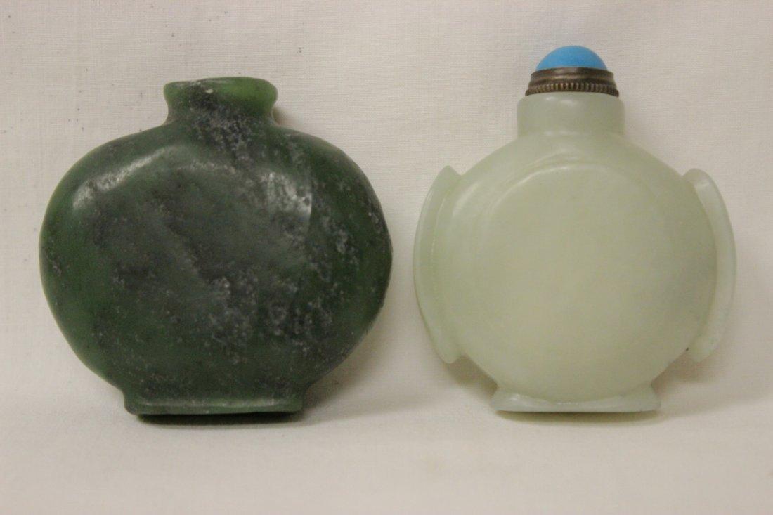 2 jade carved snuff bottles
