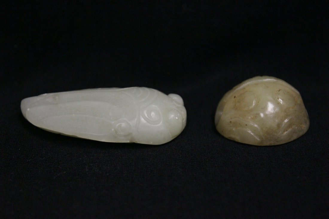 2 Chinese jade carved ornament