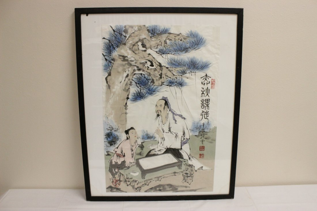 Chinese framed watercolor - 2