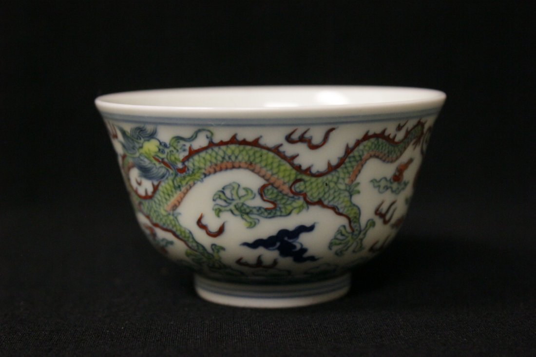 Chinese wucai small porcelain wine cup - 4