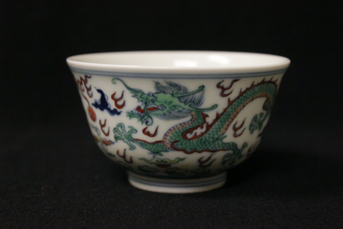 Chinese wucai small porcelain wine cup - 5