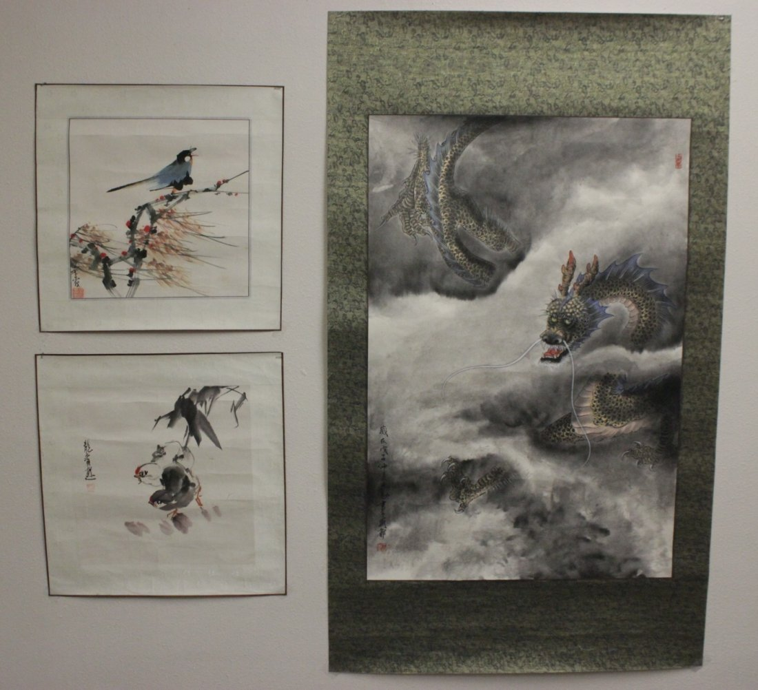 3 Chinese unframed watercolor on rice paper