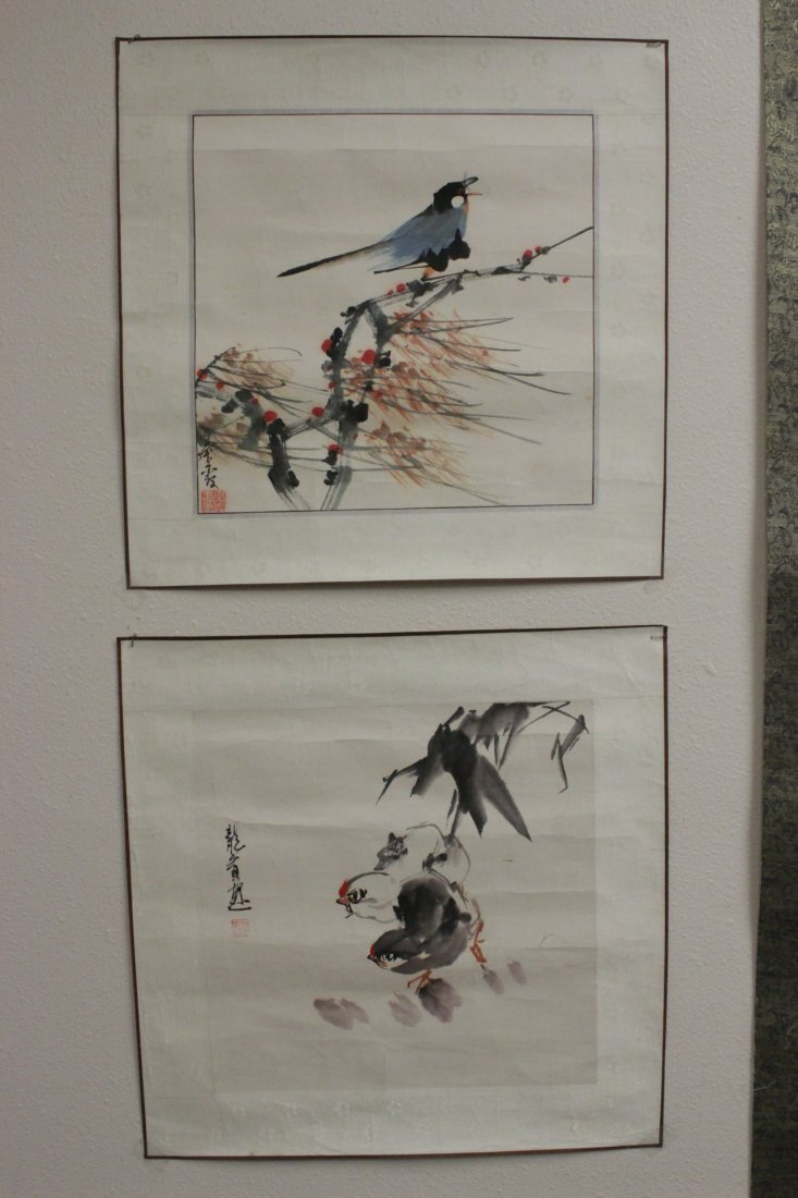 3 Chinese unframed watercolor on rice paper - 2