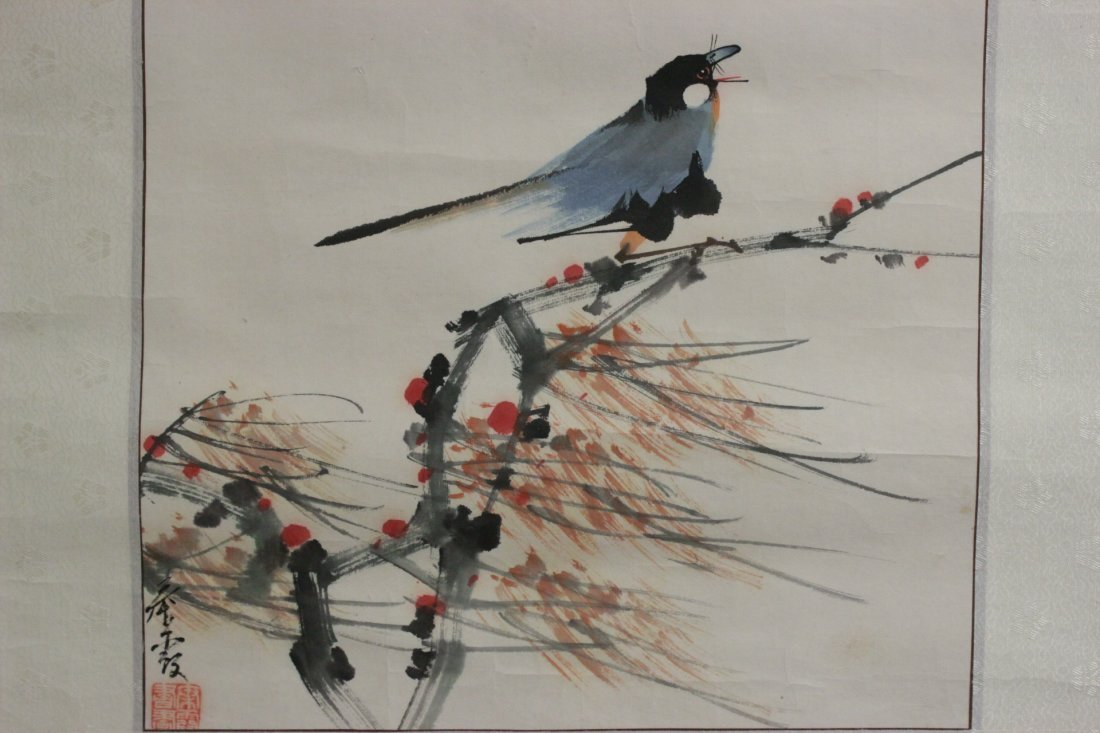 3 Chinese unframed watercolor on rice paper - 3