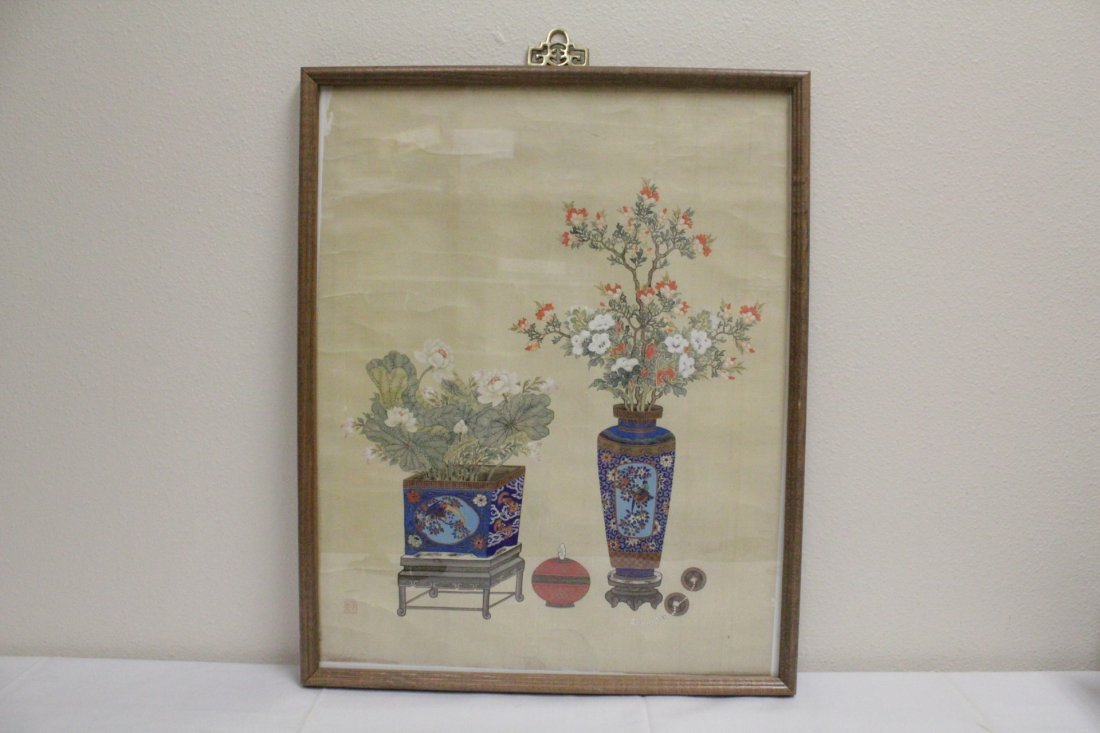 Framed Chinese watercolor