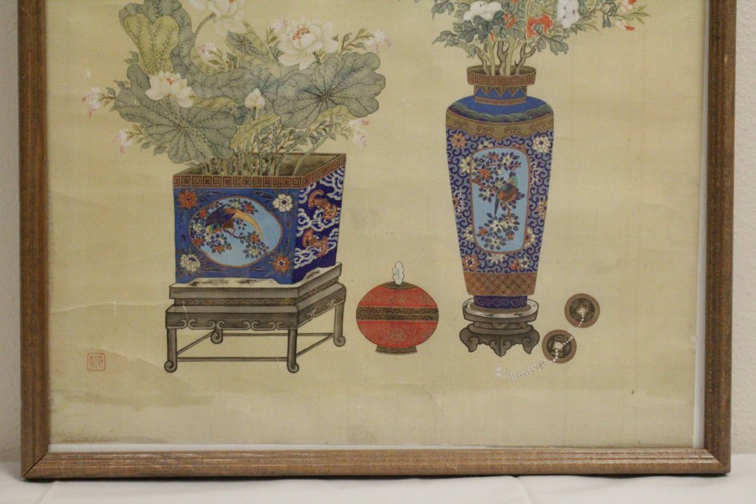 Framed Chinese watercolor - 4