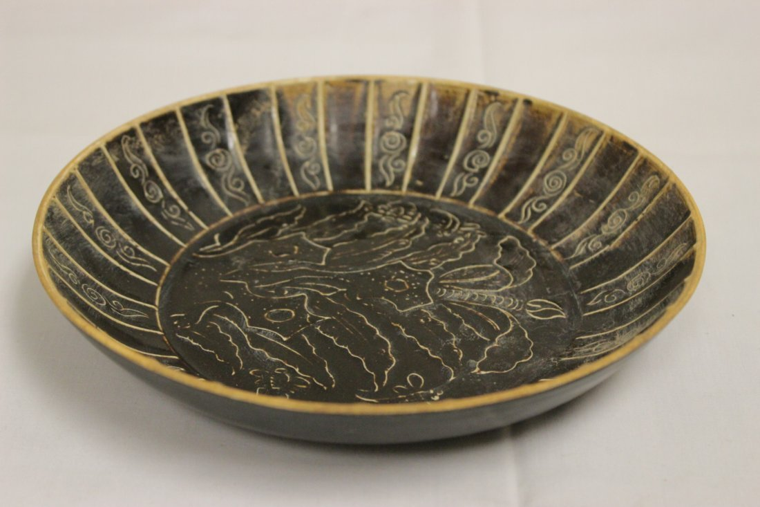 Song style brown glazed dish with floral decoration - 9