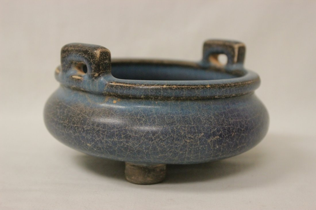 Chinese Song style porcelain footed censer - 4