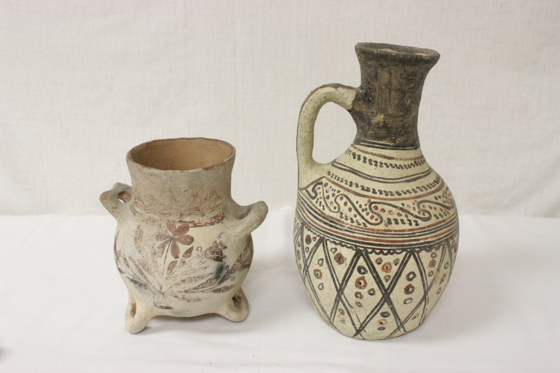 Antique Persian hand painted pitcher and a vase
