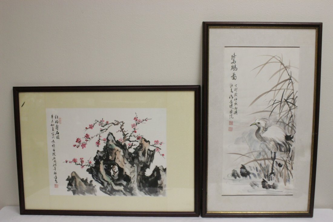 2 Chinese framed watercolors