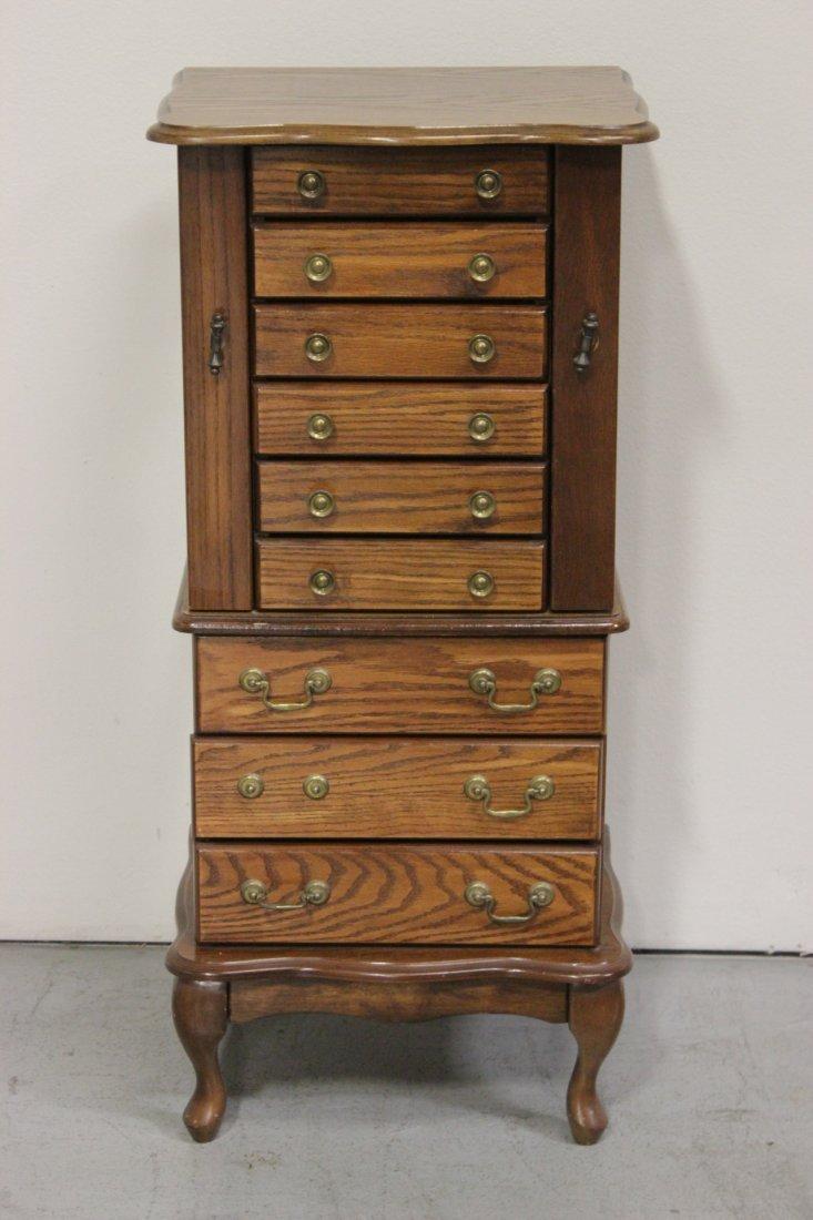 20th century oak jewelry chest